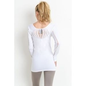 White Seamless Diamond Life Long Sleeve Top